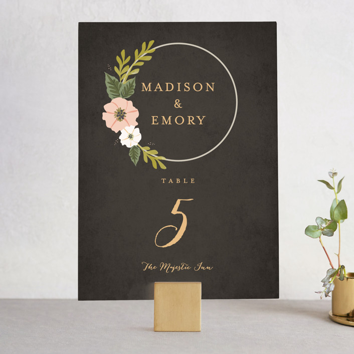 """""""Floral Ring"""" - Wedding Table Numbers in Charcoal by Karidy Walker."""