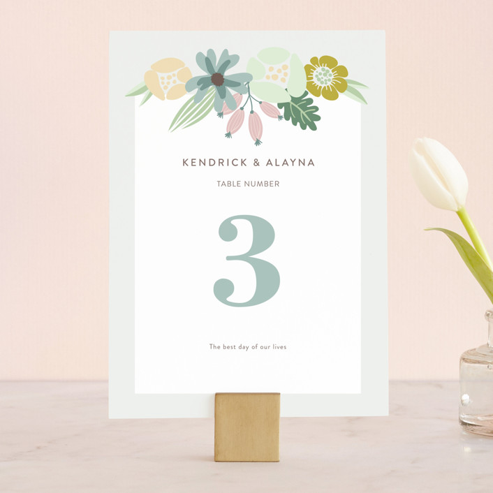 """""""Floral Ampersand"""" - Wedding Table Numbers in Mustard by Johanna McShan."""