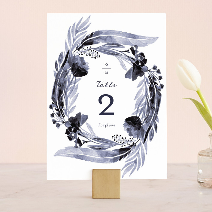 """feathers & florals"" - Wedding Table Numbers in Dusk by Olivia Raufman."