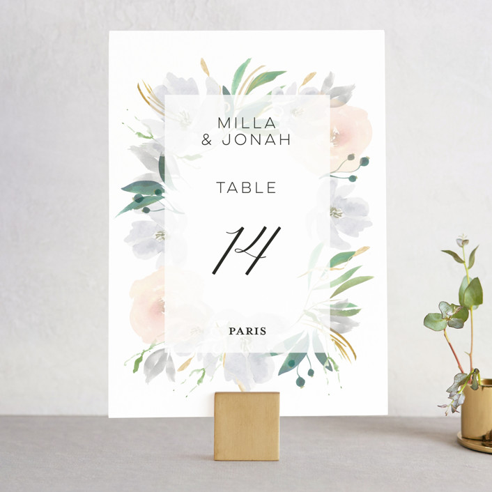 """Grande Botanique"" - Wedding Table Numbers in Mist by Bonjour Paper."