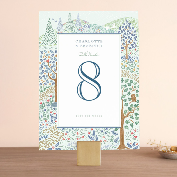 """Woodland Garden"" - Wedding Table Numbers in Daybreak by Paper Sun Studio."