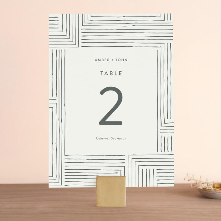 """Pattern Play"" - Wedding Table Numbers in Pebble by Seven Swans."