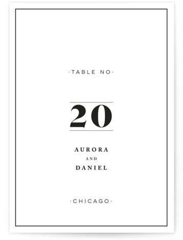This is a black and white Table Numbers by Nazia Hyder called Prelude with Standard printing on Luxe Museum Board in Classic Flat Card format. Table numbers come in a flat or folded format. Select from our Signature, Premium 100% ...