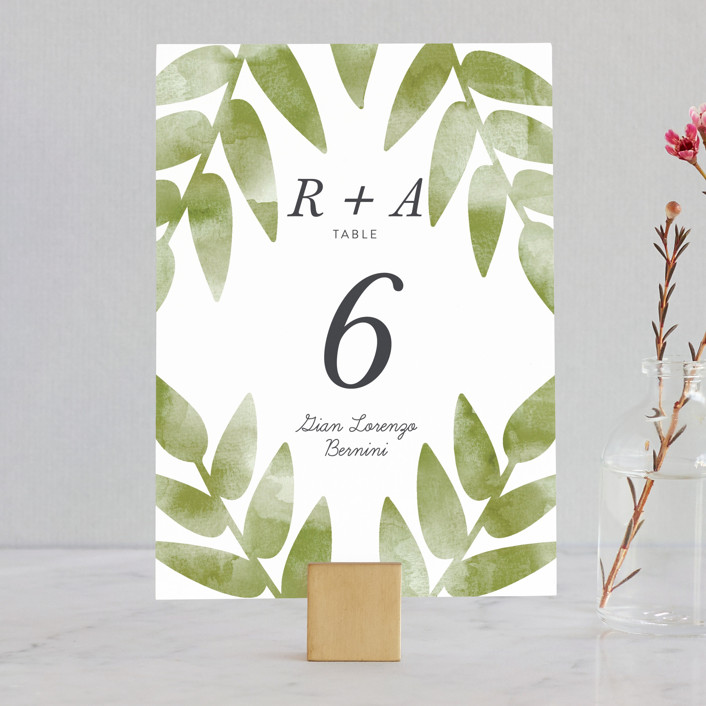 """Watercolor Leaf"" - Wedding Table Numbers in Porcelain by Johanna McShan."