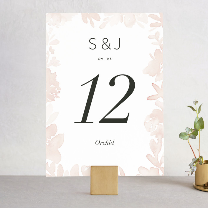 """""""Etheral Bouquet"""" - Wedding Table Numbers in Blush by Petra Kern."""