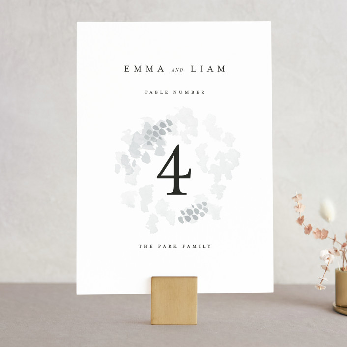 """A Thousand Years"" - Wedding Table Numbers in Classic White by Design Lotus."
