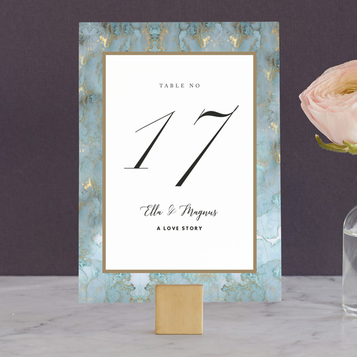 """Something Blue"" - Wedding Table Numbers in Aqua by Benita Crandall."