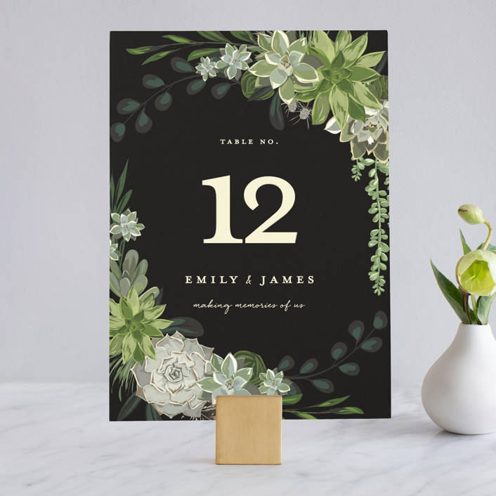"""Agave & Greens"" - Wedding Table Numbers in Midnight by Susan Moyal."