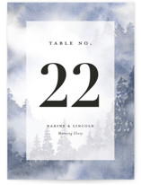 This is a blue table number by Stacey Meacham called Misty trees with standard printing on doublethick in standard.