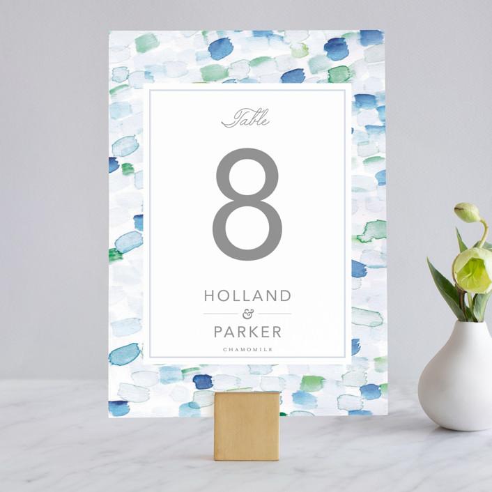 """""""Sea Glass"""" - Wedding Table Numbers in Ocean by Hudson Meet Rose."""