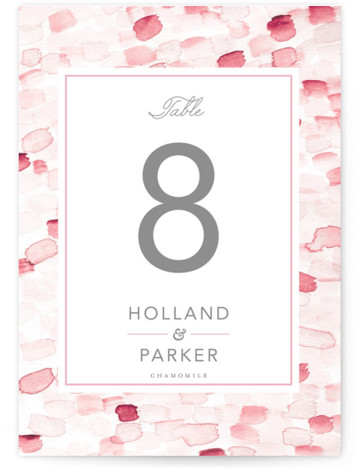This is a painterly, pink Table Numbers by Hudson Meet Rose called Sea Glass with Standard printing on Luxe Museum Board in Classic Flat Card format. This nautical inspired invitation features a hand painted background which is paired with traditional ...
