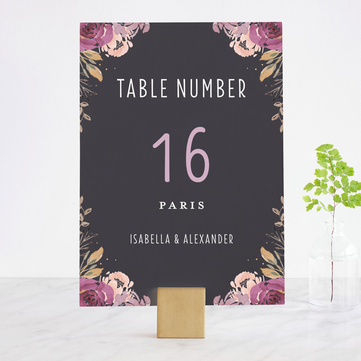 """Midnight Blooms"" - Wedding Table Numbers in Payne Grey by Bonjour Paper."