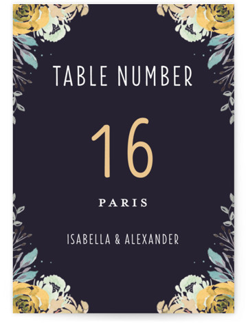 This is a botanical, blue, yellow Table Numbers by Bonjour Paper called Midnight Blooms with Standard printing on Signature in Classic fold over (blank inside) format. Wedding invitation featuring dark whimsical florals