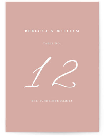 This is a bold and typographic, classic and formal, simple and minimalist, pink Table Numbers by lulu and isabelle called We Do with Standard printing on Signature in Classic fold over (blank inside) format. A clean, minimalist, gender neutral wedding ...