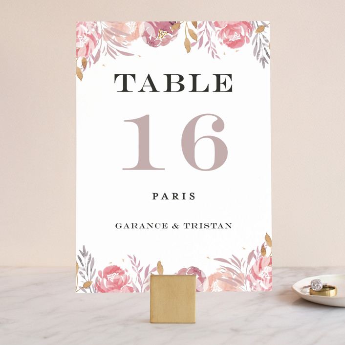 """Grand Bloom"" - Wedding Table Numbers in Mauve by Bonjour Paper."