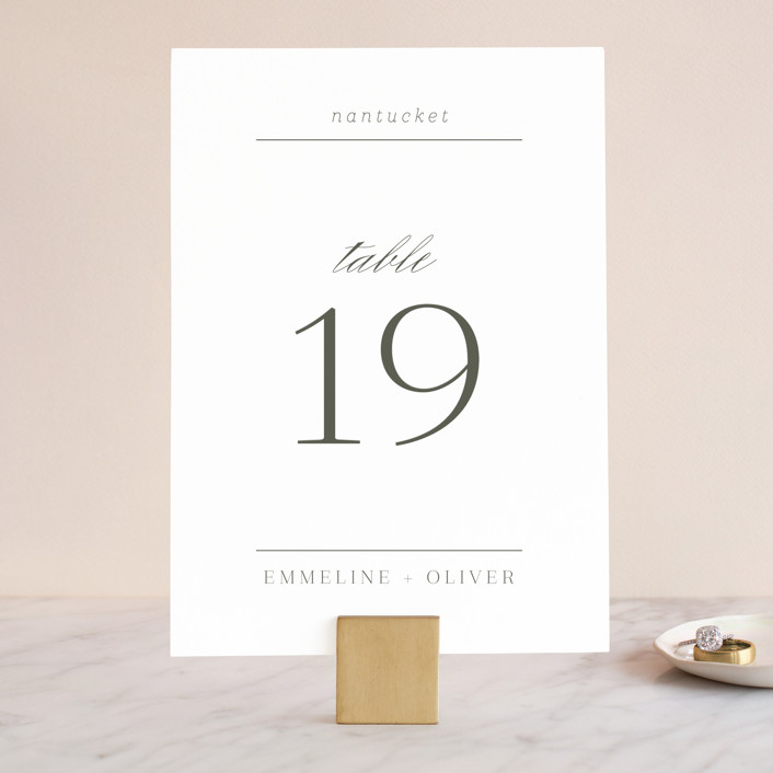 """All About That Type"" - Wedding Table Numbers in Sage by Rebecca Daublin."