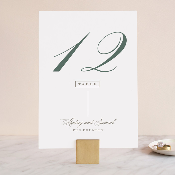 """""""Roman Shade"""" - Wedding Table Numbers in Evergreen by Carrie ONeal."""