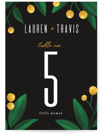 This is a botanical, green, yellow Table Numbers by Jessica Corliss called Fire and Ice with Standard printing on Signature in Classic fold over (blank inside) format. This non foil wedding invitation features a beautiful watercolor floral with pops of ...