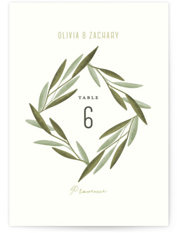 This is a botanical, green Table Numbers by Gwen Bedat called Oliviers with Standard printing on Luxe Museum Board in Classic Flat Card format. A fresh and delicate wedding invitation, with painted olive tree leaves around a diamond shaped centerpiece ...