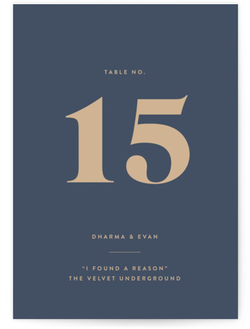 This is a bold and typographic, simple and minimalist, blue, brown Table Numbers by Melissa Egan of Pistols called headline with Standard printing on Luxe Museum Board in Classic Flat Card format. A modern typographic, wedding invitation that lets your ...