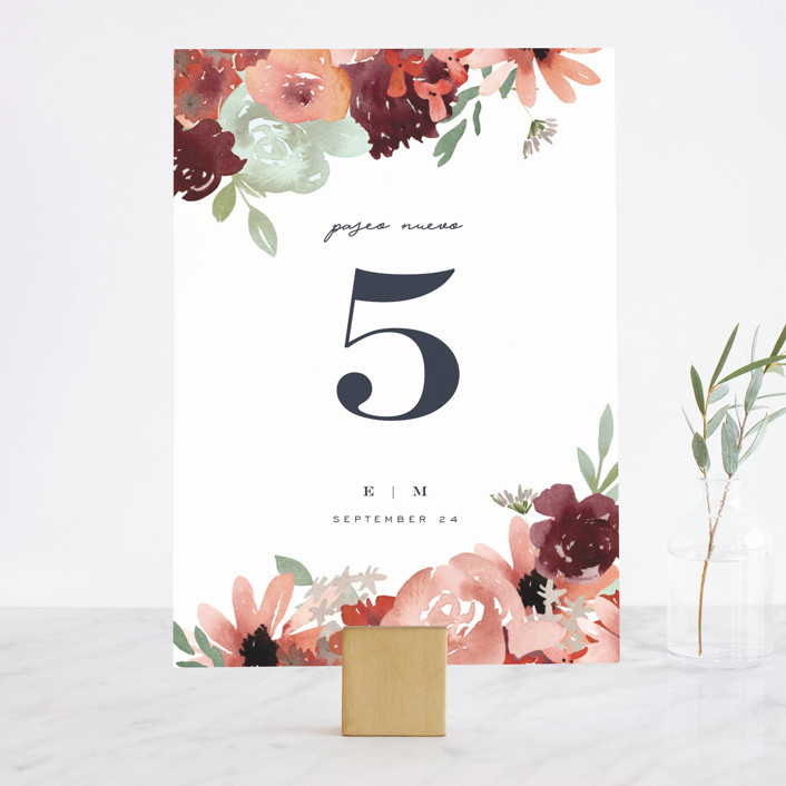 """Cascading Florals"" - Wedding Table Numbers in Rouge by Leah Bisch."