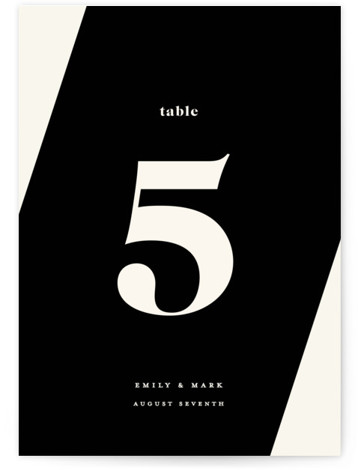 This is a bold and typographic, simple and minimalist, black Table Numbers by GeekInk Design called Angled with Standard printing on Luxe Museum Board in Classic Flat Card format. A modern wedding invite featuring a unique angled arrangement.