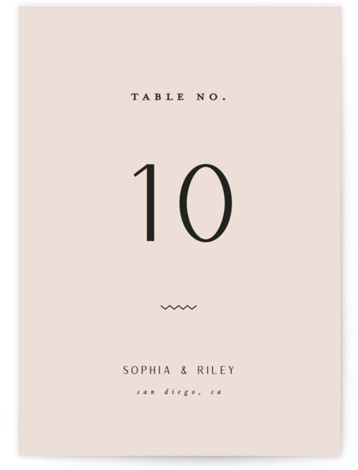 This is a bold and typographic, simple and minimalist, pink Table Numbers by Leah Bisch called Adora with Standard printing on Luxe Museum Board in Classic Flat Card format. Modern and elegant typographic wedding invitation