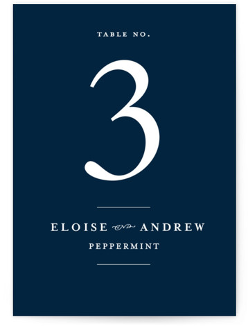 This is a classic and formal, blue Table Numbers by Lea Delaveris called a grand day with Standard printing on Luxe Museum Board in Classic Flat Card format. With simple but elegant typography, this wedding invitation evokes a classic style ...