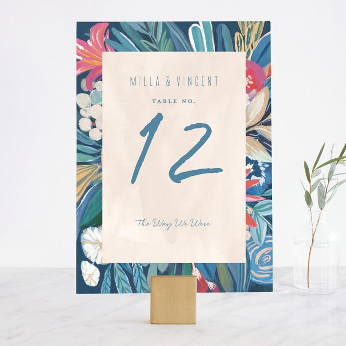 """""""Floral Burst"""" - Wedding Table Numbers in Ocean by Morgan Ramberg."""