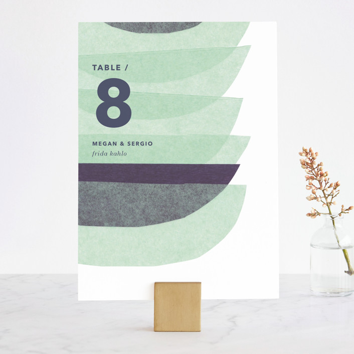 """""""tissue union"""" - Modern Wedding Table Numbers in Cucumber by Carrie Moradi."""