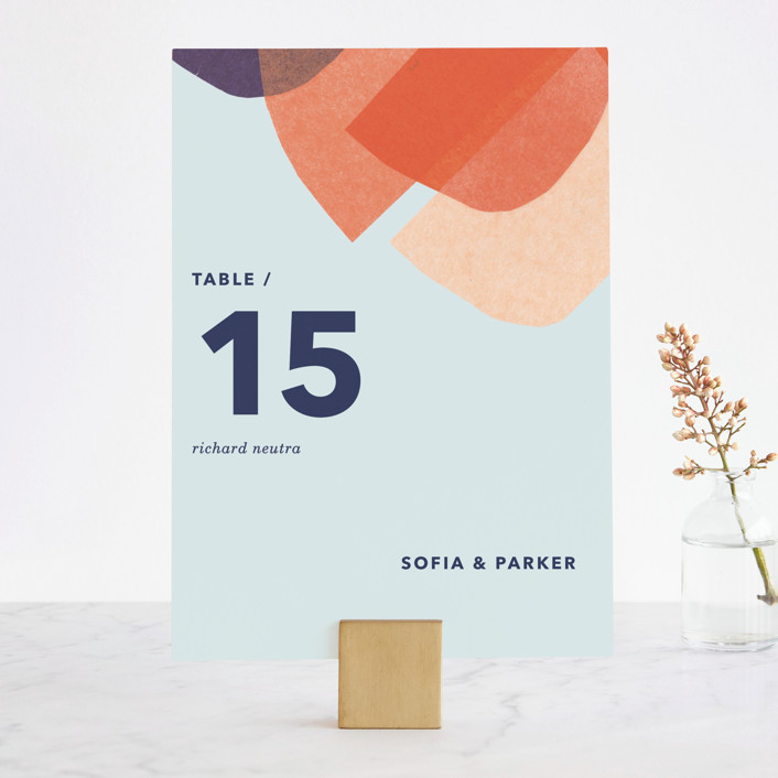 """""""tissue texture"""" - Modern Wedding Table Numbers in Papaya by Carrie Moradi."""