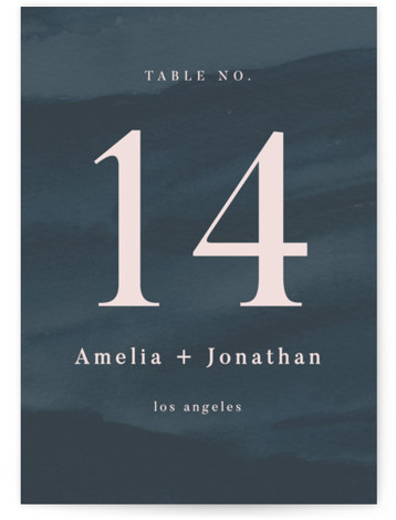 This is a rustic, blue Table Numbers by Krissy Bengtson called ridge with Standard printing on Signature in Classic fold over (blank inside) format. This wedding invitation features a painted background of a mountain range at dusk. Artwork painted with ...