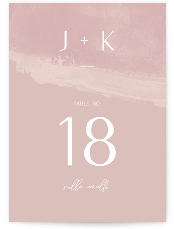 This is a bold and typographic, classic and formal, simple and minimalist, pink Table Numbers by shoshin studio called requiem with Standard printing on Signature in Classic fold over (blank inside) format. Scripty, flowing lines + minimalist composition for the ...