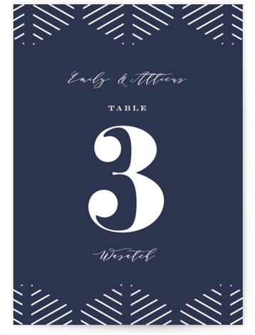This is a bold and typographic, blue Table Numbers by Amy Payne called Picture Perfect with Standard printing on Luxe Museum Board in Classic Flat Card format. This wedding invitation features classic typography over a photo.