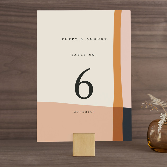 """""""Color Block"""" - Modern Wedding Table Numbers in Peach by Morgan Kendall."""