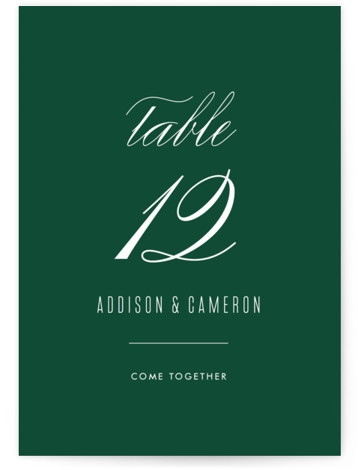 This is a simple and minimalist, green Table Numbers by Ink and Letter called Swoop with Standard printing on Signature in Classic fold over (blank inside) format. This design is minimal and elegant with subtle typography and lots of white ...