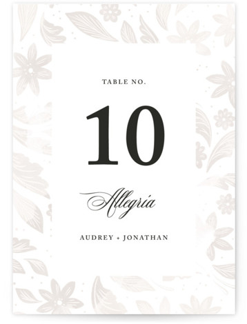 This is a botanical, grey Table Numbers by Paper Raven Co. called Batikka with Standard printing on Signature in Classic fold over (blank inside) format. This Wedding Invitation features an original, symmetrical hand drawn illustration of folk art florals and ...