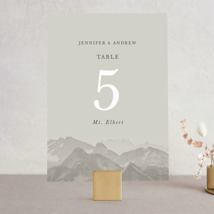 """""""Modern Mountain"""" - Rustic Wedding Table Numbers in Fog by Gratia Design Co.."""