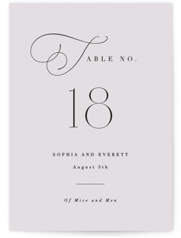 This is a classic and formal, simple and minimalist, purple Table Numbers by Hooray Creative called Flowing Initials with Standard printing on Luxe Museum Board in Classic Flat Card format. A simple layout with the focus on elegant typography.