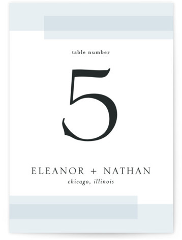 This is a classic and formal, blue Table Numbers by Erin Deegan called Transparent with Standard printing on Signature in Classic fold over (blank inside) format. Photo wedding invitation with a transparent frame.