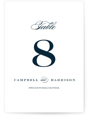This is a classic and formal, blue Table Numbers by Jennifer Postorino called Swept Away with Standard printing on Signature in Classic fold over (blank inside) format. Beautiful, flourishing script and a fresh layout give this wedding invitation a classic ...