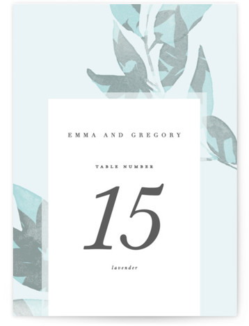 This is a botanical, blue Table Numbers by Creo Study called Boho botanics with Standard printing on Signature in Classic fold over (blank inside) format. Bold botanicals paired with dainty typography sets the mood for a chic, bohemian wedding