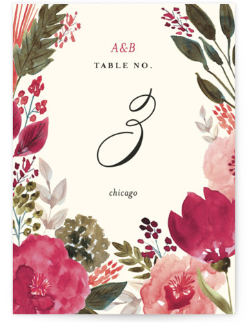 This is a botanical, green, pink Table Numbers by Beth Schneider called Flourishing with Standard printing on Luxe Museum Board in Classic Flat Card format. Hand painted watercolor florals create the border on this botanical wedding invitation