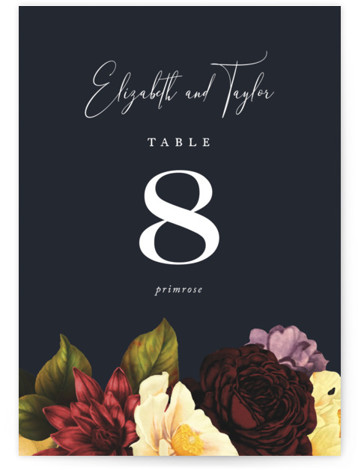 This is a classic and formal, blue Table Numbers by Jennifer Postorino called Desire with Standard printing on Luxe Museum Board in Classic Flat Card format. Fresh type, clean lines and a dark background make this design both moody and ...