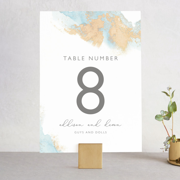 """My tenderness"" - Modern Wedding Table Numbers in Topaz by Helen Halik."