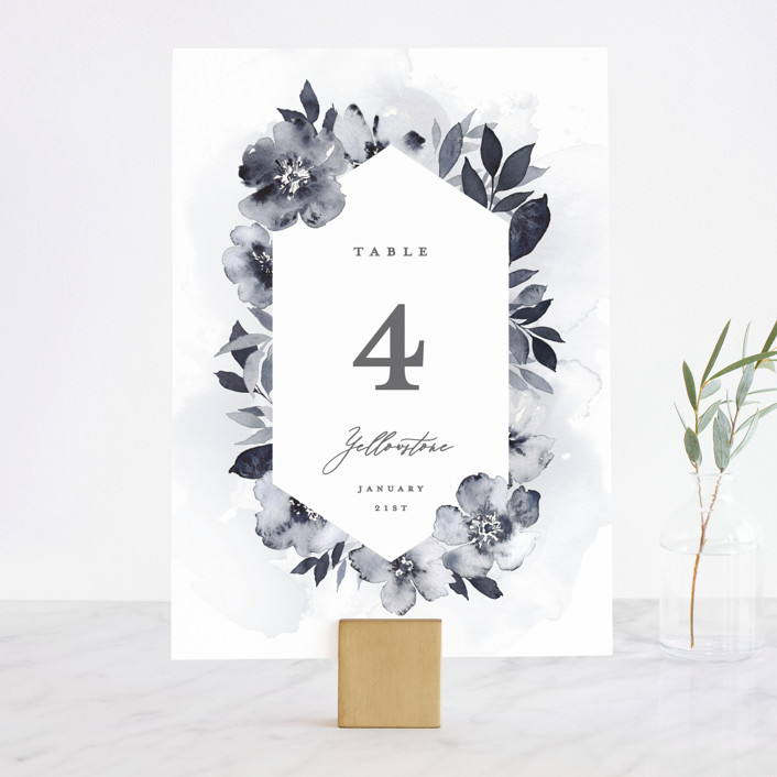 """Fancifully"" - Wedding Table Numbers in Navy by Everett Paper Goods."