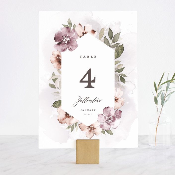 """Fancifully"" - Wedding Table Numbers in Dust Mauve by Everett Paper Goods."