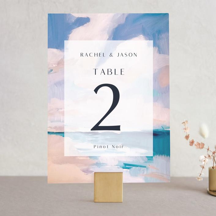 """Sand & Sun"" - Wedding Table Numbers in Ocean by Nicole Walsh."