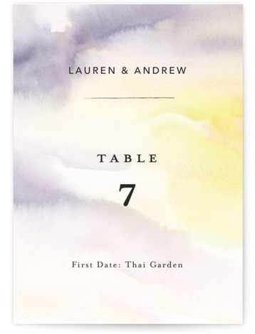 This is a painterly, yellow Table Numbers by Lindsay Megahed called Soaring with Standard printing on Signature in Classic fold over (blank inside) format. Watercolor clouds create a light and breezy modern wedding invite