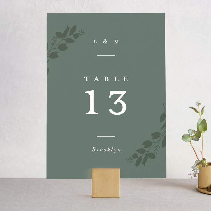 """Falling Branch"" - Wedding Table Numbers in Eucalyptus by Amy Kross."